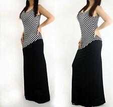 Sexy Black & White Sleeveless Diagonal striped Solid Maxi Summer Beach Dress 1XL