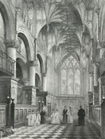 Oxford Cathedral Choir by Garland & Winkles c1838 Original old antique Print