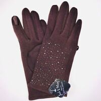 Jack & Missy Fleece Texting Gloves One Size Brown Bling Detail Fashion New KO1