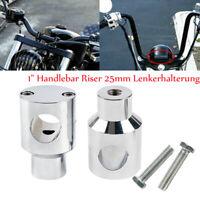 "universal 1""Handlebar Riser 25mm Chrom Lenkerhalterung für Harley Kawasaki Honda"