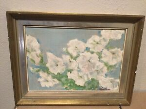 Vintage Abstract Floral Scene Painting Signed -  Agnes Pelton