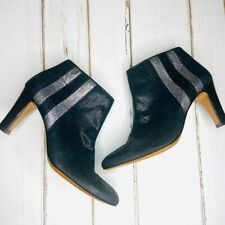 Eponyme Leather Boots Black Glitter Stripe Ankle 40