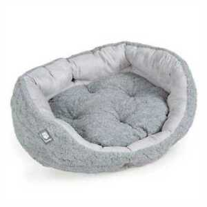 Soft Round Dog Bed Deluxe Slumber Stylish Knit Design Removable Base Faux Suede