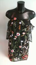 Parisian Embroidered Mesh Bardot Dress - Black/Floral - Size 14 #19R392