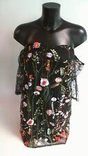 Parisian Embroidered Mesh Bardot Dress - Black/Floral - Size 14 #19R392