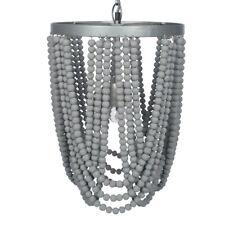 Grey Wash Wood Bead Sash Pendant