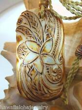 Genuine Master Carved Tribal Maori Fangipani Puhoro Burnt Buffalo Bone Pendant