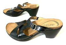Dansko Womens Black Patent Leather Slide Open Sandals Mid Heel US 6.5-7 EUR 37