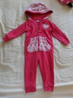 F&F Boys Girls Unisex Pink Long Sleeve Hooded Playsuits Size 12-18 Months