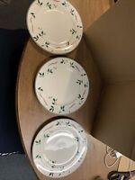 3 CHRISTOPHER STUART HOLIDAY SPLENDOR Dessert Plates - Holly Ribbons - Mikasa