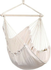 Hammock Chair Cotton Weave Hanging Rope Swing 330 lbs. Beige With Side Pocket