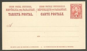 AOP Paraguay 1896 4c brownish with white postal card mint HG 10