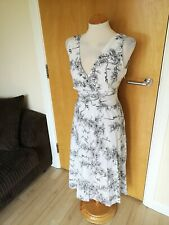Ladies BHS Dress Size 12 14 White Black Cotton Embroidered Smart Casual Day