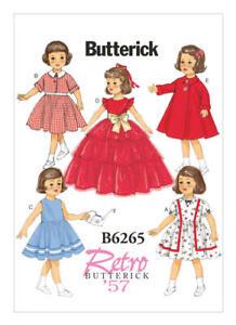 BUTTERICK Schnittmuster B6265, Retro 1957, Kleider für Puppen ca. 46 cm groß