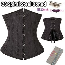Fajas Sexy Black Steampunk Boned Corsets Overbust Bustier Push Up Shapewears Top