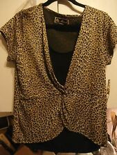 Mirasol Brown Black Gold Sequin Animal Print Blouse Top Size Large NWT