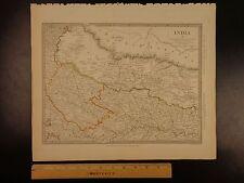 1844 BEAUTIFUL Huge Color MAP of INDIA Oude Allahabad Himalaya Mountains ATLAS