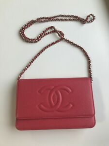 Chanel Timeless Wallet-on-chain WOC Coral caviar leather champagne gold hardware