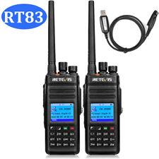 2* Retevis RT83 10W Ham 2-way Radio DMR UHF 2800mAh 1024CH Digital +USB Cable