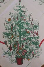 Vintage Christmas Holiday Tablecloth 86x70 Mid Century William Ewart Irish Linen