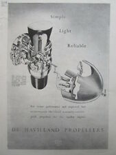5//1946 PUB DE HAVILLAND MANUALLY VARIABLE PITCH PROPELLERS HELICES ORIGINAL AD