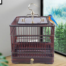 Parrot Bird Cage Canary Parakeet Bamboo Wood Handmade Bird Cage+Removable Drawer