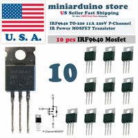 """10pcs IRF9640 IRF 9640 Power MOSFET 11A 200V TO-220 """"IR"""" P-Channel Transistor"""