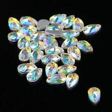 AB 48Pcs Water Tear Drop Shape Rhinestone Crystal Sew-on 2 Hole Flatback Craft