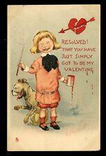 Romance Valentine Child Artist Dog TUCK  #4524 R F Outcault drawn Comic PPC