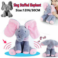 Peek-a-Boo Animated Talking and-Singing Plush Elephant Stuffed Doll Toy For-Baby