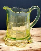 Vintage yellow Vaseline glass creamer scallop edge and feet 4.5 pressed glass
