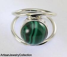 MALACHITE SIZE 7 RING 925 STERLING SILVER ARTISAN JEWELRY COLLECTION Y058B