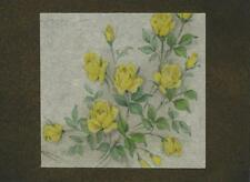 VINTAGE YELLOW ROSES FLOWERS ACEO SIZE BLACK PAPER W/ GOLD DUST COLLAGE PICTURE