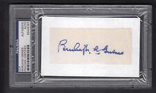 Burleigh Grimes Signed White Index Card Blue Ink PSA Slabbed