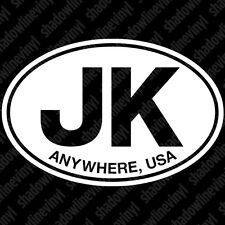 "JEEP ""Anywhere, USA"" Euro Oval Vinyl Decal Sticker JK Unlimited Sahara Rubicon"