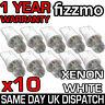 10x LED 501 W5W T10 PUSH WEDGE HID XENON WHITE SIDE LIGHT BULBS UK 1YR WARRANTY