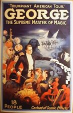 GEORGE SUPREME MASTER OF MAGIC poster art print vtg repro 24x36 heavy paper
