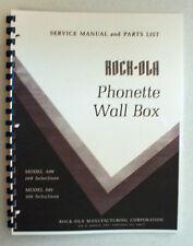 Rock-ola Service & Parts Manual Phonette Wall Box 500/1