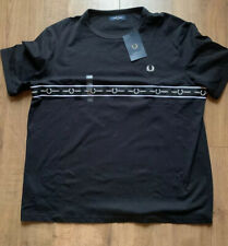 Fred Perry Mens Black White Taped Chest Tshirt XXL RRP £55
