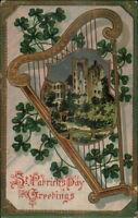 St. Patrick's Day Gold Harp & Caste c1910 Postcard