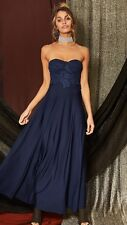 Women's Street Heart Crochet Strapless Maxi Formal Dress Navy Blue Size XS/6