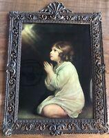 """VTG Print Ornate Metal Frame Bubble Glass Praying Child Samuel In Prayer 19x15"""""""