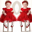 Kids Baby Girls Toddler Flower Princess Pageant Party Tutu Lace Bow Floral Dress