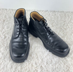 ECCO Mens Size 43 Ankle Boots Black Casual Lace Up Square Toe Dress Chukka Boots