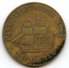 Antilles danoises Danish West Indies Frederik VII 20 Cents argent 1859 KM 67