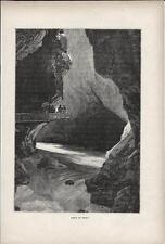 Stampa antica cascata Orrido di TRIENT Svizzera 1890 Old Print Switzerland