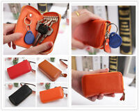 Fashion Elegant Zipper Women Men Genuine Leather Key Bag Key holder Car Keyrings