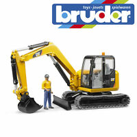 Bruder Cat Mini Excavator Digger & Construction Worker Kids Toy Model Scale 1:16