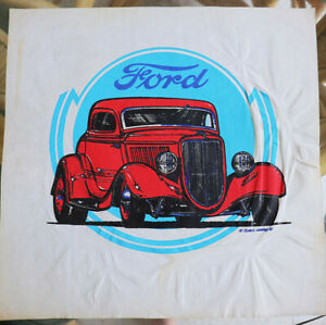 Vtg Iron On Art On Felt Hot Rod Retro Ford Coupe Classic Drag Race Street Rod