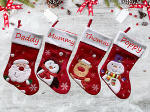 Personalised Xmas Embroidered Christmas Stocking Boot Red Santa Snowman Penguin